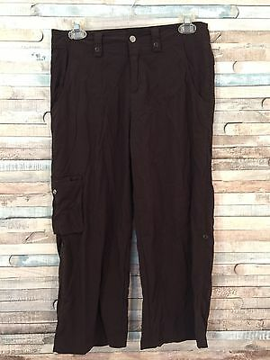 Activewear Womens Lucy Flex Cargo Crop Pants Roll Up Tabs Khaki Size Small Women's Clothing