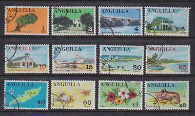 Anguilla 1967-6 Used Part Set FU Definitives Scenes Flowers Church Tree Lobster