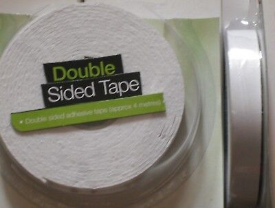 4 PACKS OF 4m STRONG DOUBLE SIDED FOAM TAPE White Padded Adhesive Fixing.
