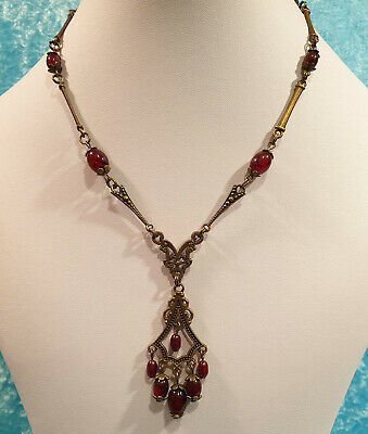 Vintage Art Deco Style Czech Red Marbled Glass Bead Drop Pendant Necklace