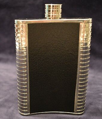 Stainless steel Flask with black faux leather 8 oz