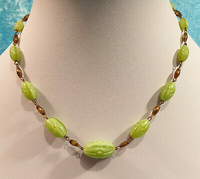 Vintage Original Art Deco Sea Green Czech Pressed Glass Bead Necklace