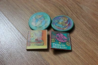 4 pcs Soviet Russian USSR Pin Badge Icon kids cartoon Two images