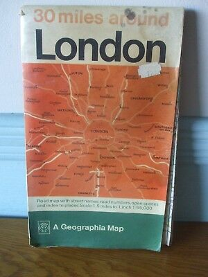 Vintage Map Of London 30 Miles Around London Geographia Large Fold Old Index