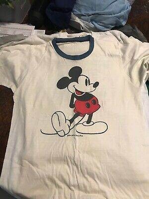 bb0079866 Vintage 80s Mickey Mouse T Shirt M Ringer tee Walt Disney World Productions  vtg