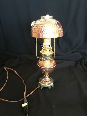 Antique Arts & Crafts, Art Nouveau, Brass & Copper Lamp, Cabochons, WORKING