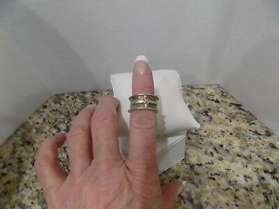 14K Yellow Gold Designer Cross 925 Sterling Silver Ring Band Hammered Size 6
