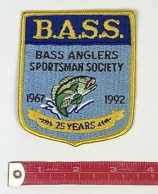 Bass Anglers Sportsman Fishing Patch Society 1967 1992 Patch 25 Years