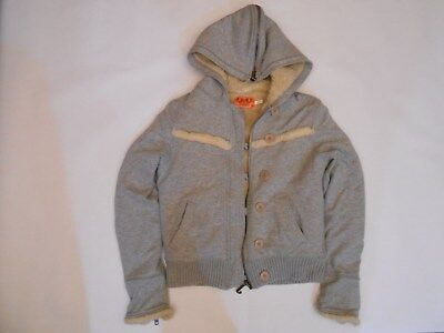 Juicy Couture Girls Youth Sweater Jacket Hoodie Full Zip Gray Size S