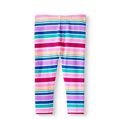 Wonder Nation Girls Tough Cotton Capri Leggings Size Large 10-12 Pink Stripes