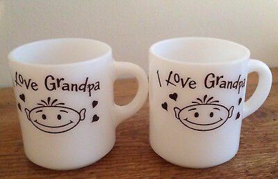 "Vintage Milk Glass ""I LOVE GRANDPA"" Gift Coffee Cup WHITE BROWN Stacking Tea Mug"