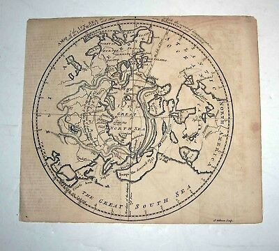 Antique c1760 World MAP-J GIBSON Engr/ ICY-Nrth-GREAT SOUTH SEAS-Polar DISCOVERY