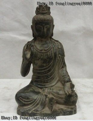 9 Old China Buddhism Bronze Copper Seat Guanyin Kwan-Yin Boddhisattva God Statue