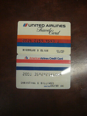 Vintage United Airlines American Airlines Collectors Credit Card Expired