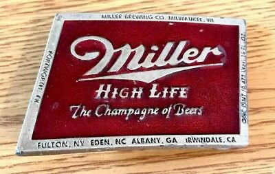 "Vintage Miller HIgh Life ""The Champagne of Beers"" Silvertone Cast Belt Buckle 3"""
