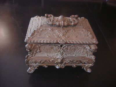 19th Century French Louis XV Brass Plated Jewelry Box with Repousse Decor