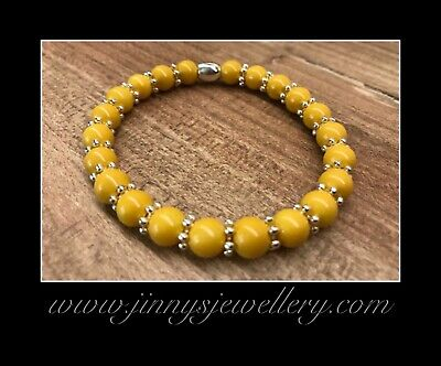 Mustard Bead Bracelet with Sterling Silver plated spacer beads, New, Boxed