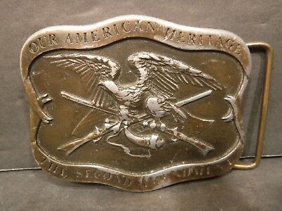 Our American Heritage The Second Amendment Belt Buckle X-84 Indiana Metal Craft