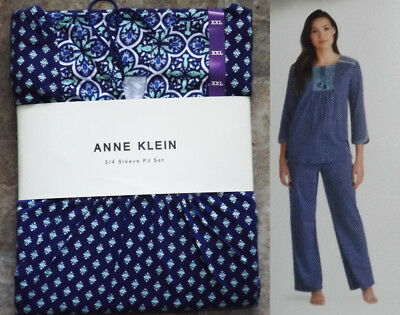 ANNE KLEIN 3/4 SLEEVE PJ SET XXL 100% Cotton Pajamas 2 Pc. Top Pants Comfy 18/20