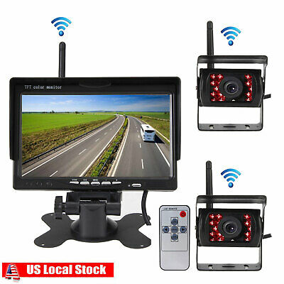 7''HD Monitor+ 2x Wireless Rear View Backup Camera Night Vision for RV Truck Bus