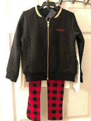 789243d9 Tommy Hilfiger Toddler Girls 3-piece Set Black Bomber Jacket Plaid Pants  Shirt