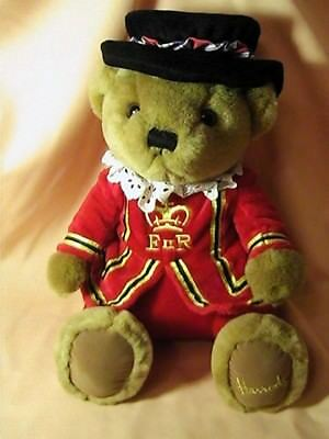 HARRODS LONDON UK Golden Plush Teddy Bear 15in Beefeater Royal Guard Costume
