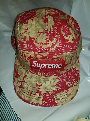 b9a4b5dccb475 SUPREME WASHED CHINO TWILL CAMP CAP FLORAL SS18 2018 RED BOX LOGO HAT  fashion