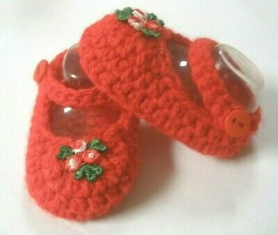 Red/Red flower Mary Jane booties/shoes/slippers: Dolls Clothes for Baby Born