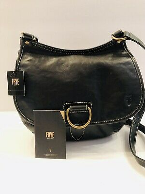 466644cce AUTHENTIC NEW NWT FRYE LEATHER $338 LUCY Black CROSSBODY BAG Handbag ...