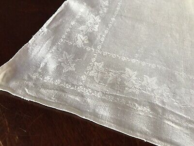 Large Beautiful Vintage Pure Linen Damask Runner Table Centre Ivy Banquet