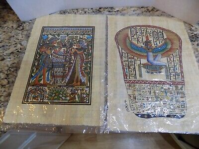 """2 Egyptian Papyrus Paper Painting Gold Winged Maat King Queen 13 x 9"""""""