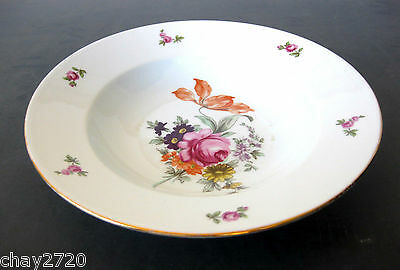 VTG BOHEMIAN FINE CHINA SOUP BOWL FLORAL PATTERN, Made in Czechoslovakia
