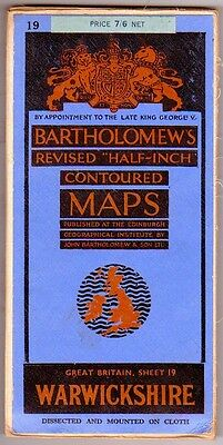 Sheet 19 Warwickshire Bartholomews Half Inch Map Contoured Dissected  on Cloth