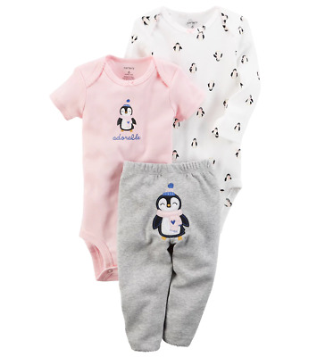 c1f45db65 NWT BABY GIRL 3 Mo Snowflakes Penguin 3 Pc Outfit Set Pants Bodysuit ...