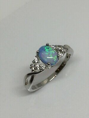 Blue Oval Fire Opal Sterling Silver Ring