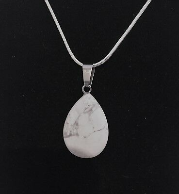 Natural White Turquoise- Water Drop Pendant Includes Sterling Silver Snake Chain