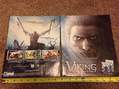Lot of 2 Viking Battle for Asgard Video Game Ad Pages Miniposter NO GAME!!