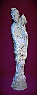 A Beautiful Oriental Statue Of A Fisherman 12.75 Inches Tall