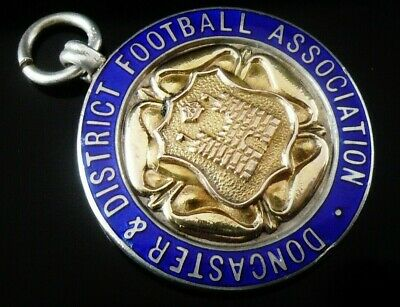 Silver Enamel Gold Pocket Watch Medal, FATTORINI 1931, Doncaster Football League