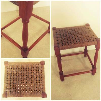 VINTAGE Wooden Stool with Woven Top Seat bathroom/kitchen/bedroom/lounge/living