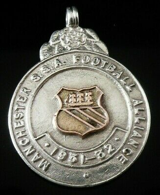 Silver Gold Pocket Watch Fob Medal, FATTORINI 1931, Manchester Football