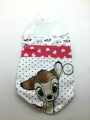 Brand New With Tags Primark Disney Bambi & Hearts  Baby Bandanna Bibs 3 Pack