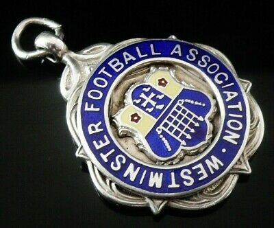 Silver Enamel Pocket Watch Fob Medal, FATTORINI 1935, Westminster Football