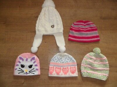 Selection of Girls Winter Hats One Size Fits 2-5 Years. FREE POSTAGE