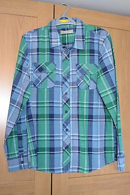 Boys Marks and Spencer Indigo Collection Top Age 12 Blue/Green Check Worn Once