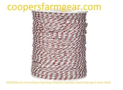 500M Electric Fence  Poly Rope Polywire Stainless Steel Polyrope 2.3mm Wide