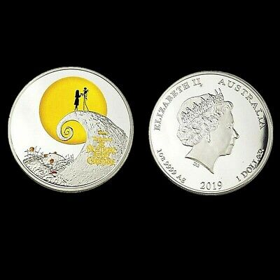 Unusual  Silver Plated Nightmare Before Christmas Coin . Boxed