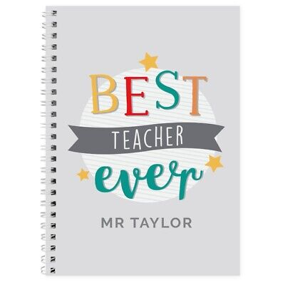 PERSONALISED TEACHERS GIFT NOTEBOOK Thank You Teacher Present End of Term Idea