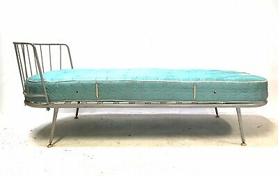 Vintage Retro Mid Century 1950s Ernest Race Style Single Metal Bed / Day Bed (a)
