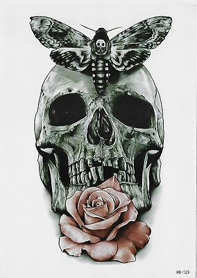 Skull Tattoo Temporary Tattoo Rose Totenkopf Temporäre Tattoo Body Sticker